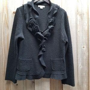 Marisa Christina Black Wool Roses Cardigan Sz XL